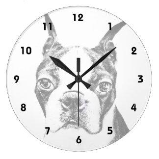 ボストンテリア犬 ラージ壁時計