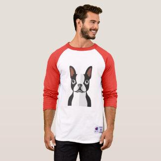 ボストンテリア3/4の長さのTシャツの人 Tシャツ