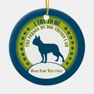 ボストンテリア のクリスマスのオーナメント セラミックオーナメント