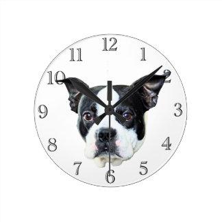 ボストンテリア ラウンド壁時計