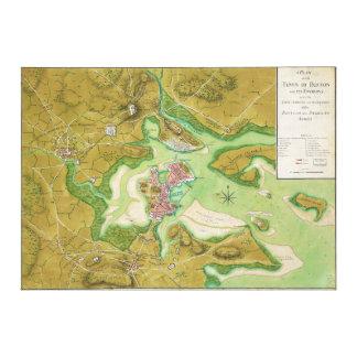 ボストンマサチューセッツ革命的な戦争の地図 キャンバスプリント