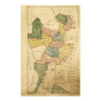 ボストンマサチューセッツ(1805年)の地図 便箋