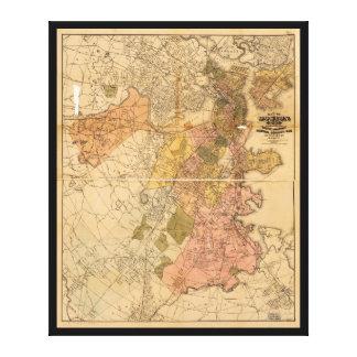 ボストンマサチューセッツ(1888年)の地図 キャンバスプリント