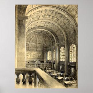 ボストン公共図書館はホール1896年を減じます ポスター