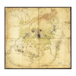 ボストン及び近辺の地図(1775年)の計画 キャンバスプリント