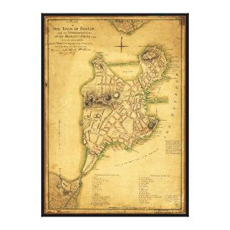 ボストン地図(1775年)の町の計画 キャンバスプリント