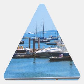 ボストン港のボートの帆sailBoats湖の意見 三角形シール