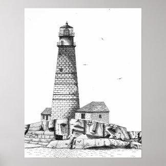 ボストン港の灯台 ポスター