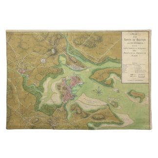 ボストン港1776年の革命的な戦争の地図 ランチョンマット