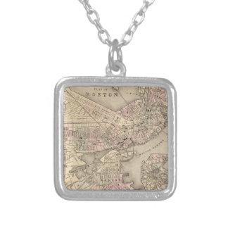 ボストン(1880年)のヴィンテージの地図 シルバープレートネックレス