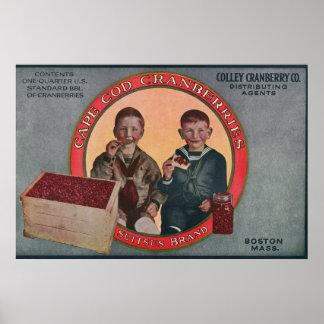 ボストンSuitsusブランドのクランベリーのラベル ポスター