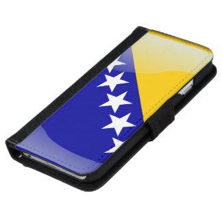 ボスニアの光沢のある旗 iPhone 6/6S ウォレットケース