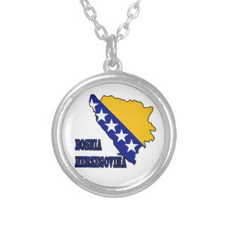 ボスニア・ヘルツェゴビナの地図の旗 シルバープレートネックレス