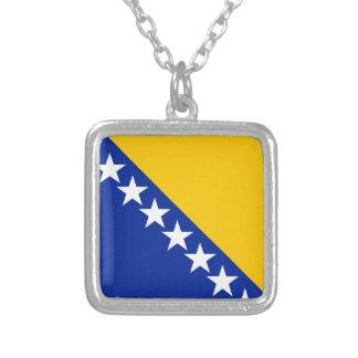 ボスニア・ヘルツェゴビナは印を付けます シルバープレートネックレス