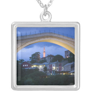 ボスニア・ヘルツェゴビナ-モスタル。 古い橋2 シルバープレートネックレス
