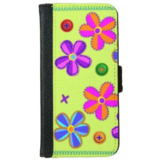 ボタンおよび花の財布または電話箱 iPhone 6/6S ウォレットケース