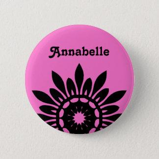 ボタンのピンクの名札ピンのかわいく黒い花 5.7CM 丸型バッジ