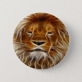 ボタンのブラウンのライオンの頭部のプリントPin 5.7cm 丸型バッジ