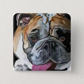 ボタンのブルドッグの顔の絵画 5.1CM 正方形バッジ