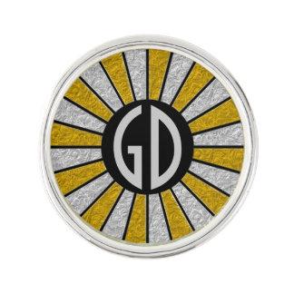 ボタンの円形光線の銀製の金ゴールド + あなたのモノグラム ラペルピン