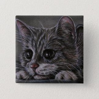 ボタンの子猫のスケッチ 5.1CM 正方形バッジ