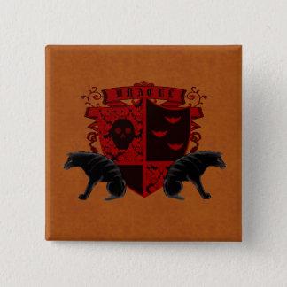 ボタンの眼識紋章学のドラキュラのゴシック様式紋章付き外衣 5.1CM 正方形バッジ