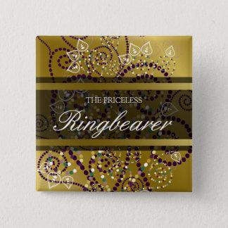 ボタンを結婚するRINGBEARER Bohoの紫色のらせん状の金ゴールド 缶バッジ