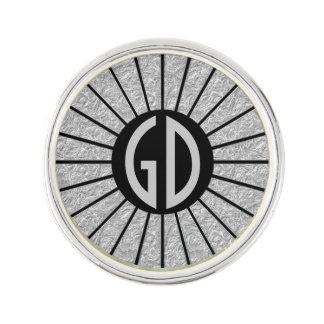 ボタン円形光線の銀 + あなたのモノグラム ラペルピン