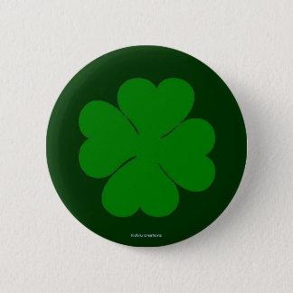 ボタン-緑のクローバー 5.7CM 丸型バッジ