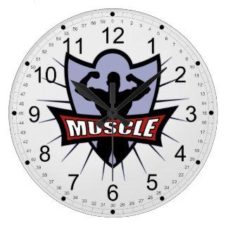 ボディービルダー筋肉ロゴ ラージ壁時計