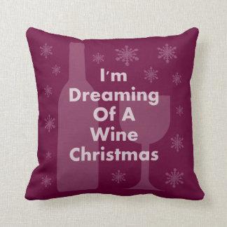 ボトルおよびガラス: ワインのクリスマス クッション