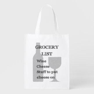 ボトルおよびガラス: ワイン愛好家の食料雑貨のリスト エコバッグ