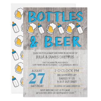 ボトルおよびビールベビーシャワーの招待状 カード