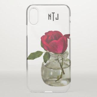 ボトルの花の写真の赤いバラ-ゆとり iPhone X ケース