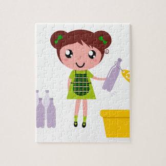 ボトルを持つ小さく芸術的な女の子 ジグソーパズル