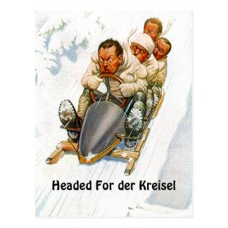ボブスレーに乗るボブスレーのPCの郵便はがきのder Kreisel ポストカード
