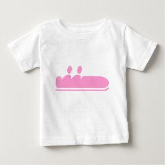 ボブスレー-ピンク ベビーTシャツ