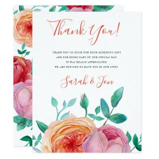 ボヘミアのはっきりしたな花の結婚式のサンキューカード カード