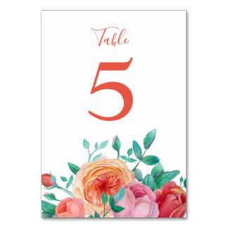 ボヘミアのはっきりしたな花の結婚式のテーブルカード カード