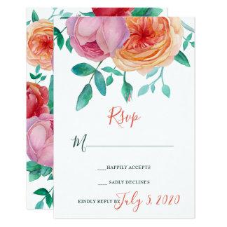ボヘミアのはっきりしたな花の結婚RSVPカード カード