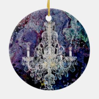 ボヘミアのぼろぼろのシックな紫色の水彩画のシャンデリア セラミックオーナメント
