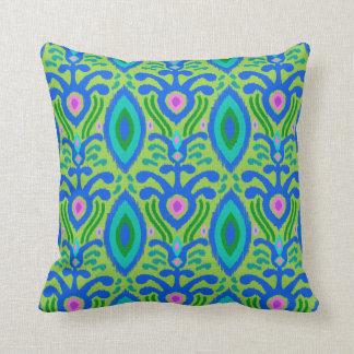 ボヘミアのイカットの枕(緑) クッション