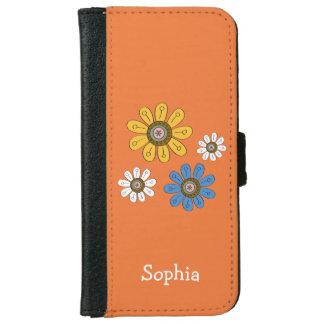 ボヘミアのカラフルの花の名前をカスタムする iPhone 6/6S ウォレットケース