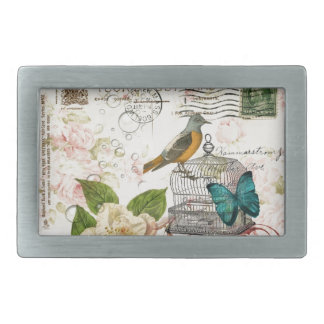 ボヘミアのシックな蝶鳥かごのフランス人の鳥 長方形ベルトバックル