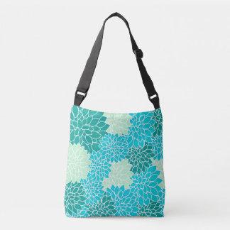 ボヘミアのティール(緑がかった色)の水の青緑の花のバッグ クロスボディバッグ