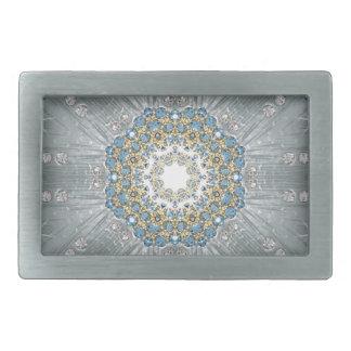 ボヘミアの水晶ラインストーンの銀の青の曼荼羅 長方形ベルトバックル
