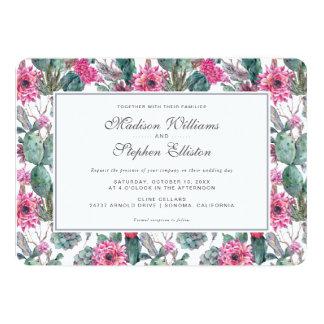 ボヘミアの水気が多い及び花柄-結婚式 カード