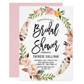 ボヘミアの羽及び花のリースのブライダルシャワー 12.7 X 17.8 インビテーションカード