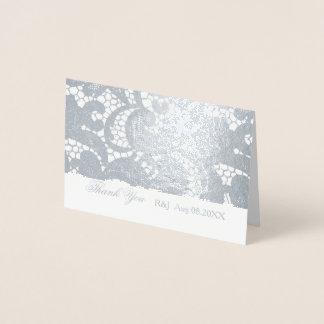 ボヘミアの花のレースの結婚式は感謝していしています 箔カード