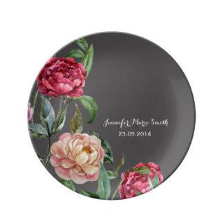 ボヘミアの花の名前入りで装飾的なプレート 磁器プレート